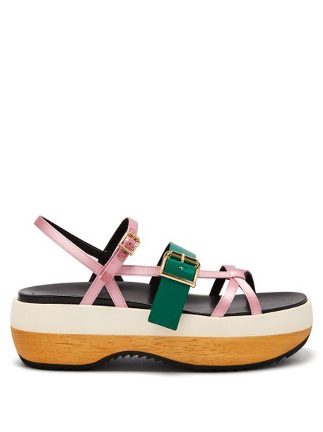 Marni - Slingback Satin And Leather Flatform Sandals - Womens - Pink Multi