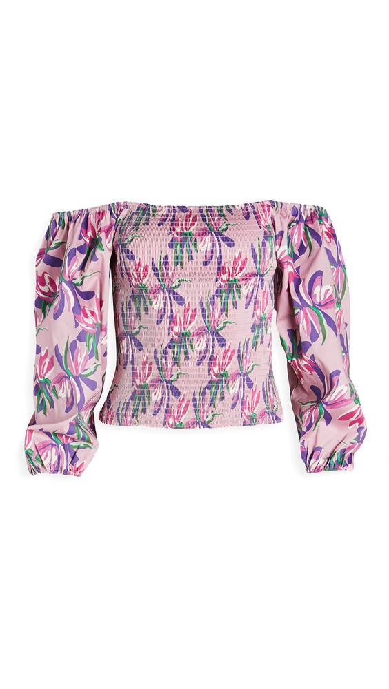 WAYF Off Shoulder Smocked Top in pink