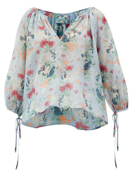 Loup Charmant - Capucine Floral-print Cotton-blend Peasant Blouse - Womens - Blue Multi