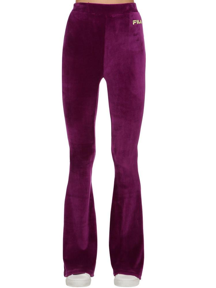 FILA URBAN Tonia Cotton Blend Flared Pants in purple