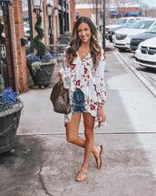 top,tunic,white,floral,slide shoes,denim shorts,louis vuitton bag
