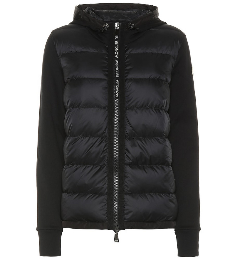 Moncler Cotton-jersey down hoodie in black
