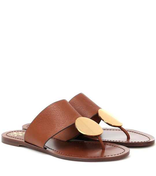 Tory Burch Patos leather sandals in brown