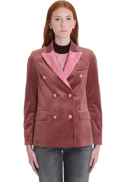 Golden Goose Misam Blazer In Rose-pink Velvet