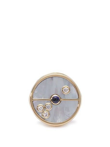 Retrouvai - Compass Diamond & Gold Signet Ring - Womens - Pearl