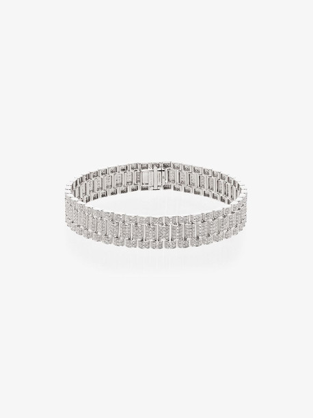 SHAY 18K white gold pavé diamond rail link bracelet