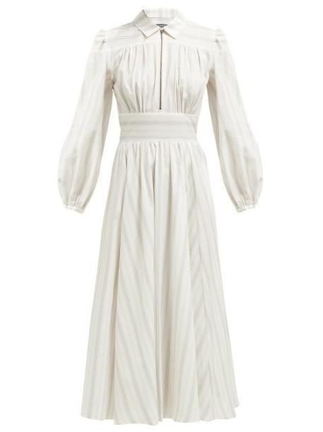 Alexachung - Zip Collar Stripe Print Cotton Shirtdress - Womens - Grey White
