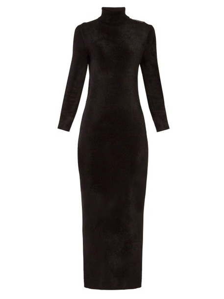Balenciaga - Logo Tag Velvet Pencil Dress - Womens - Black
