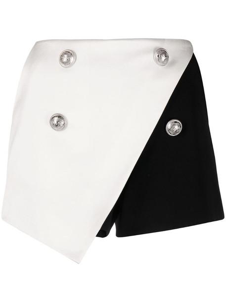 Balmain two-tone wraparound skort in black