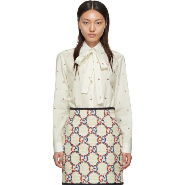 Gucci Off-White Bow Cherries Shirt