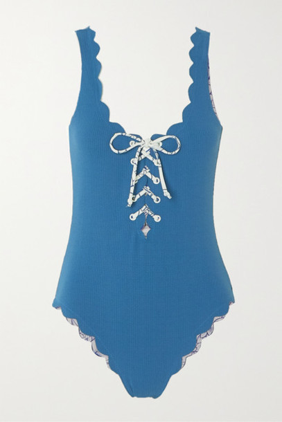 Marysia - Palm Springs Reversible Scalloped Lace-up Stretch-crepe Swimsuit - Azure