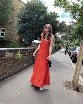 dress,red dress,maxi dress,polka dots,white sneakers