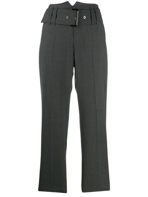 Brunello Cucinelli belted cropped trousers in grey