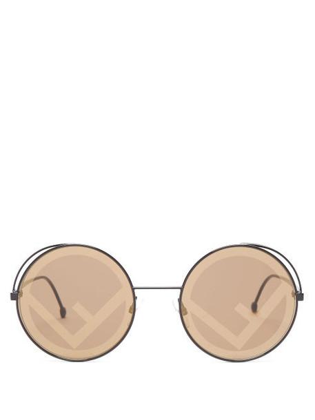 Fendi - Fendirama Mirror Logo Lense Round Sunglasses - Womens - Black