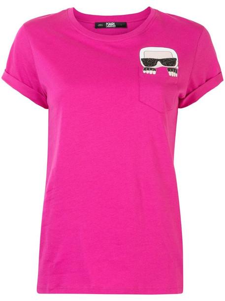 Karl Lagerfeld Ikonik Karl pocket T-shirt in pink