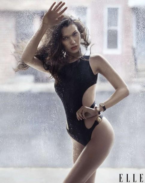 swimwear one piece swimsuit monokini bella hadid model editorial