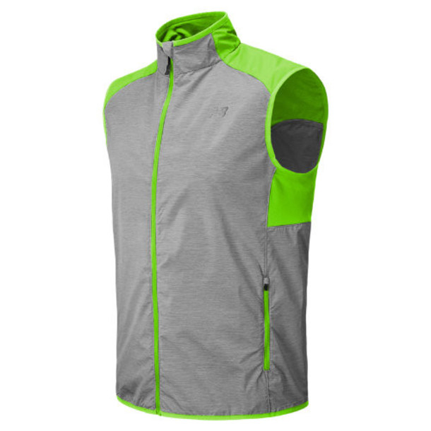 New Balance 5129 Men's Surface Run Vest - Grey, Chemical Green (MRV5129CMG)