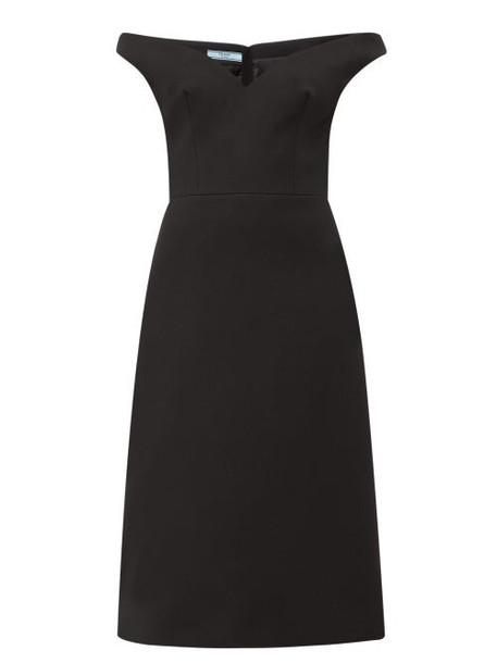 Prada - Off The Shoulder Wool Twill Dress - Womens - Black