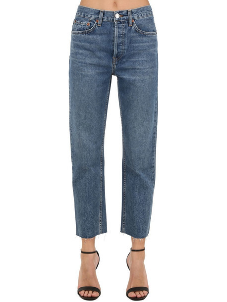 RE DONE Hi Rise Stove Pipe Straight Denim Jeans in blue