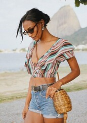 top,crop tops,colorful,summer outfits,summer top,jasmine tookes,model off-duty,instagram