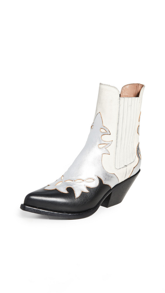 Buttero Elise Western Booties in white