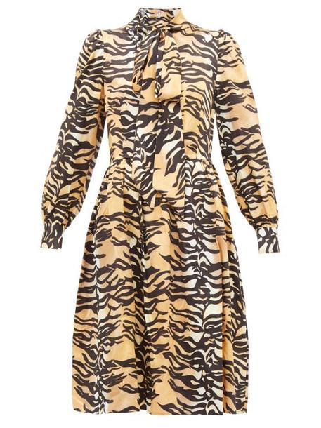 Shrimps - Eros Tiger Print Pussy Bow Silk Blend Midi Dress - Womens - Brown Multi