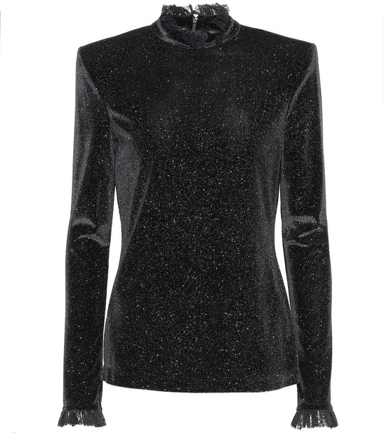 Philosophy Di Lorenzo Serafini Lace-trimmed glitter top in black