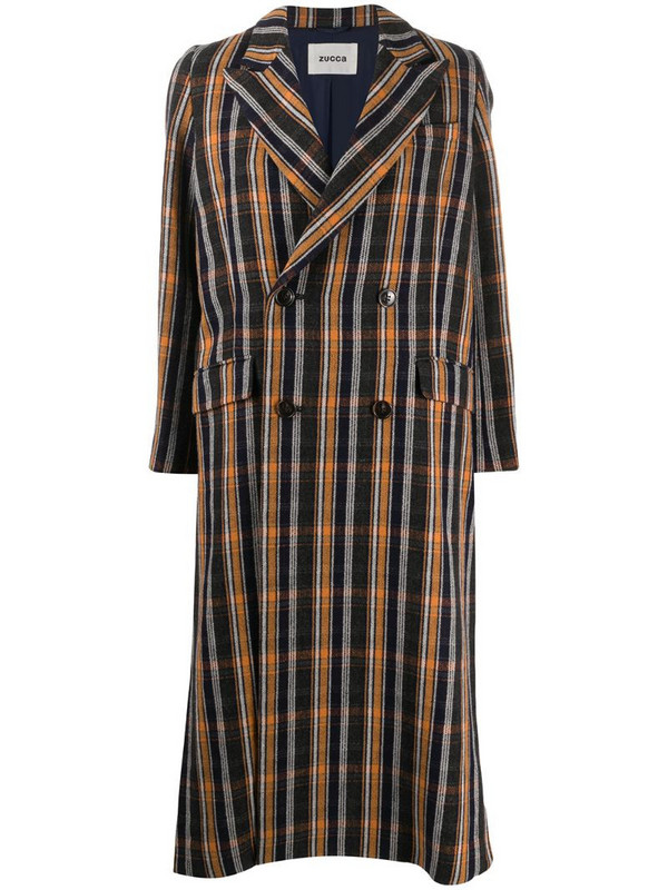 Zucca plaid trench coat in blue