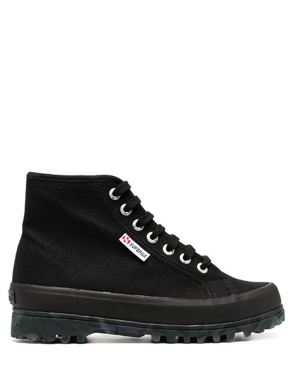 Superga lace-up high top sneakers in black
