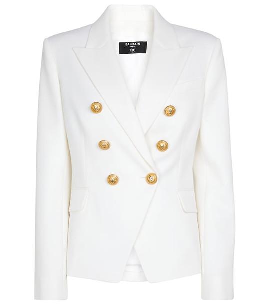 Balmain Double-breasted wool blazer in white