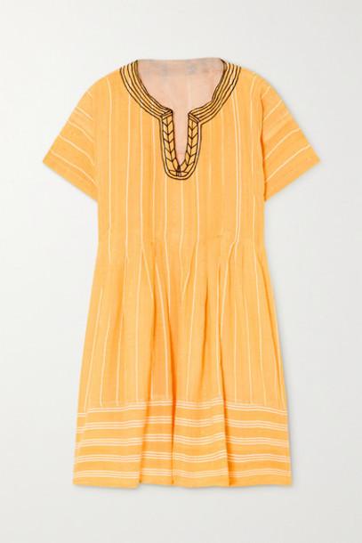 LemLem - Net Sustain Wubet Embroidered Striped Cotton-gauze Mini Dress - Yellow