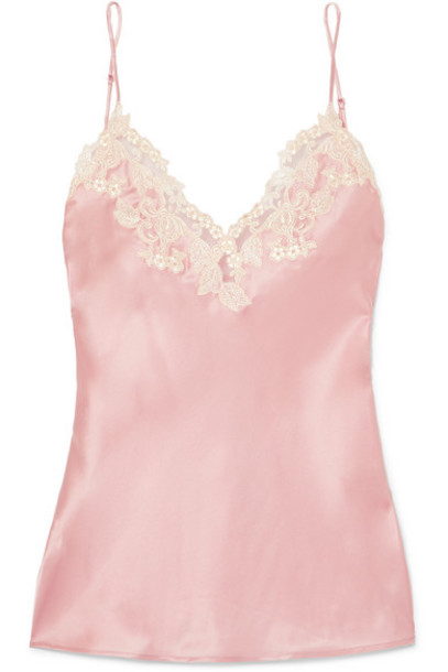 La Perla - Maison Embroidered Lace-trimmed Silk-blend Satin Camisole - Pink
