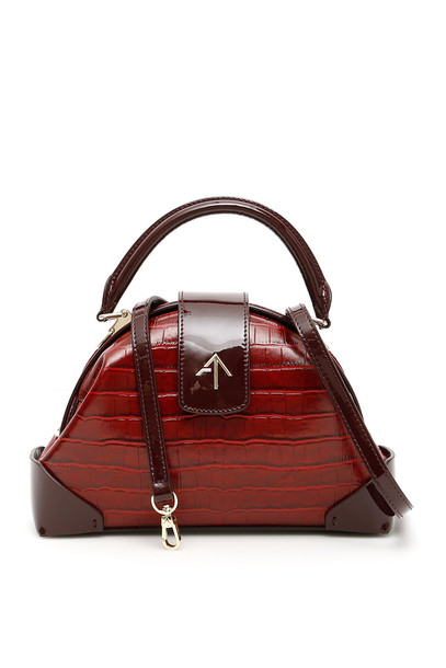MANU Atelier Demi Croc Printed Leather And Patent Leather Bag in red