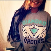 sweater,diamond supply co.,crewneck,hipster,cute,modern,teal,seafoam green,gray hoodie,jacket,hoodie