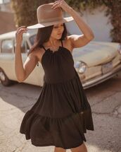 dress,mini dress,sleeveless dress,hat