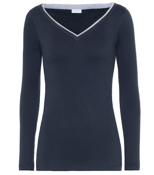 Brunello Cucinelli Embellished cotton-blend sweater in blue