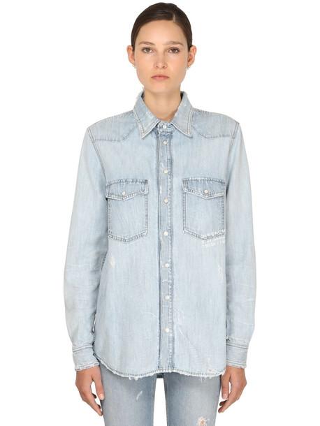 GIVENCHY Vintage Super Bleach Denim Shirt in blue