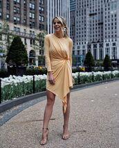 dress,mini dress,asymmetrical dress,long sleeve dress,sandal heels