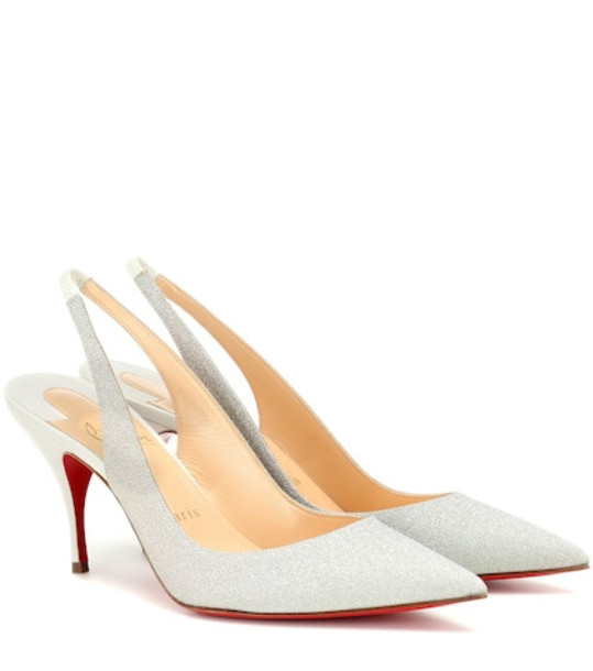 Christian Louboutin Clare Sling 80 glitter pumps in silver