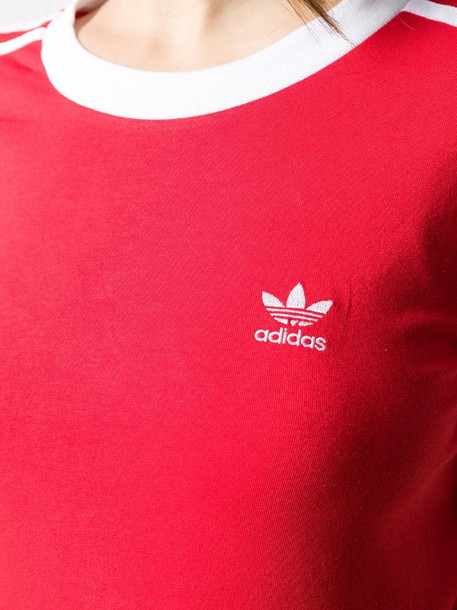 adidas embroidered logo T-shirt in red