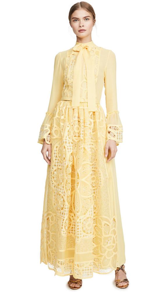 Costarellos Tie Neck Bell Sleeve Dress in yellow