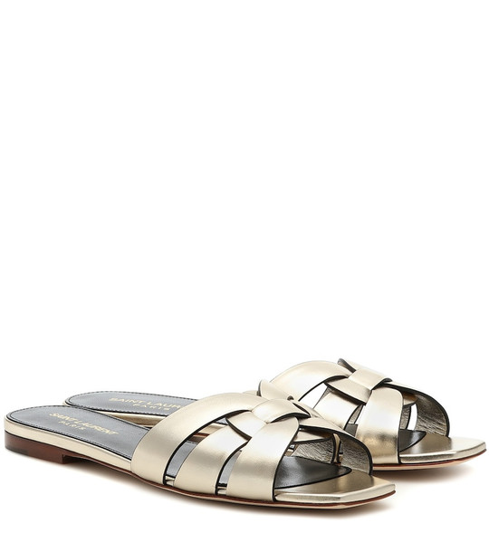 Saint Laurent Tribute Nu Pieds 05 leather sandals in gold