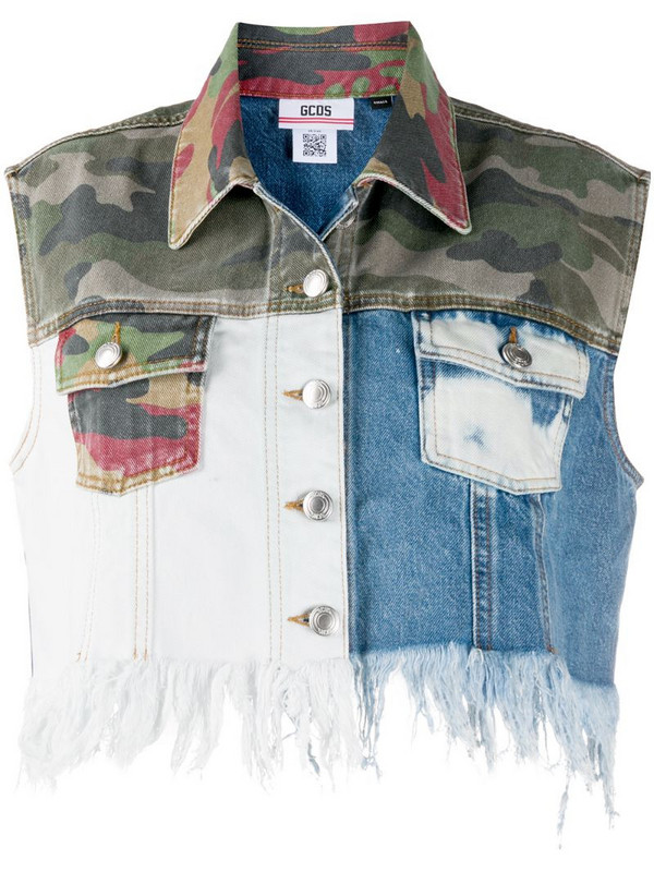 Gcds patchwork cropped vest in blue