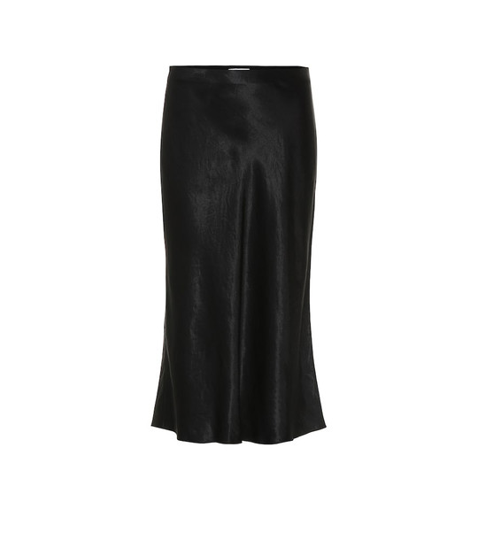 Vince Satin slip midi skirt in black