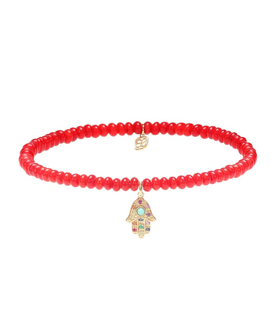 Sydney Evan Baby Hamsa Rainbow bamboo coral and 14kt gold beaded bracelet with sapphires in red