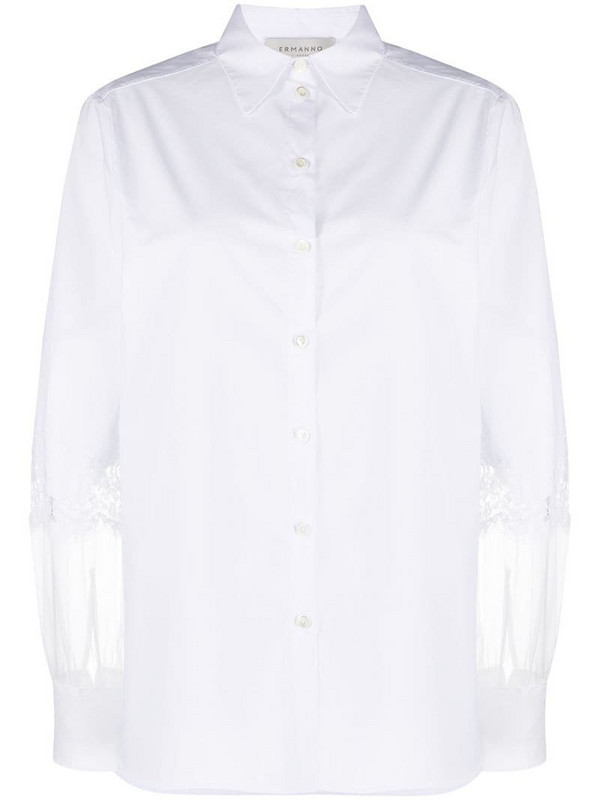 Ermanno Ermanno lace-panelled shirt in white