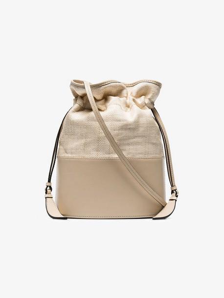 Hunting Season beige lola leather and straw bucket bag