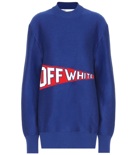 Off-White Stretch wool blend sweater in blue
