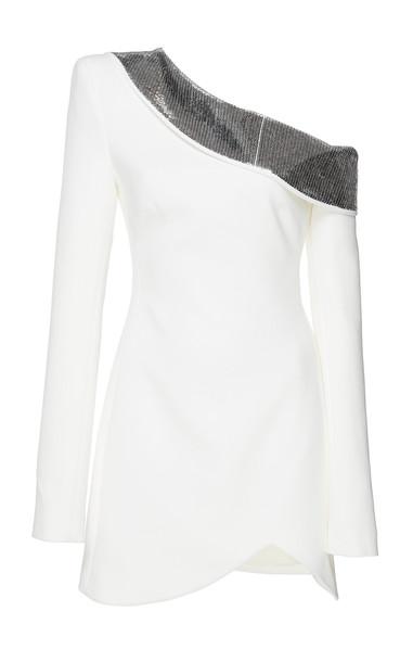 David Koma One Shoulder Sequin Mini Dress-CZ in white
