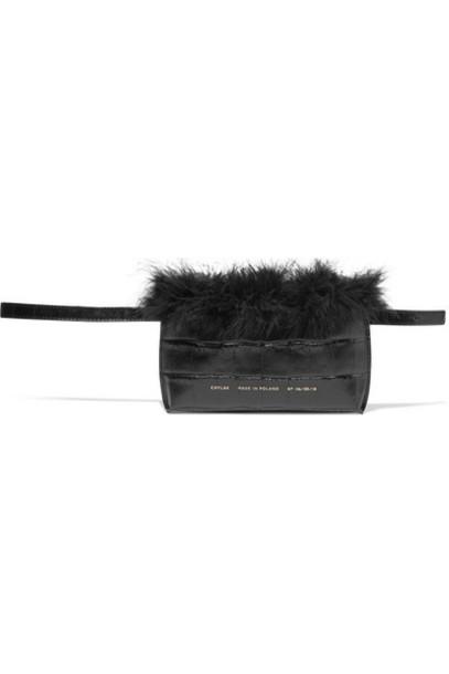 Chylak - Feather-trimmed Croc-effect Leather Belt Bag - Black
